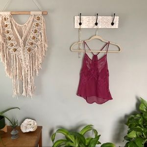 Urban Outfitters sheer lace magenta tank top